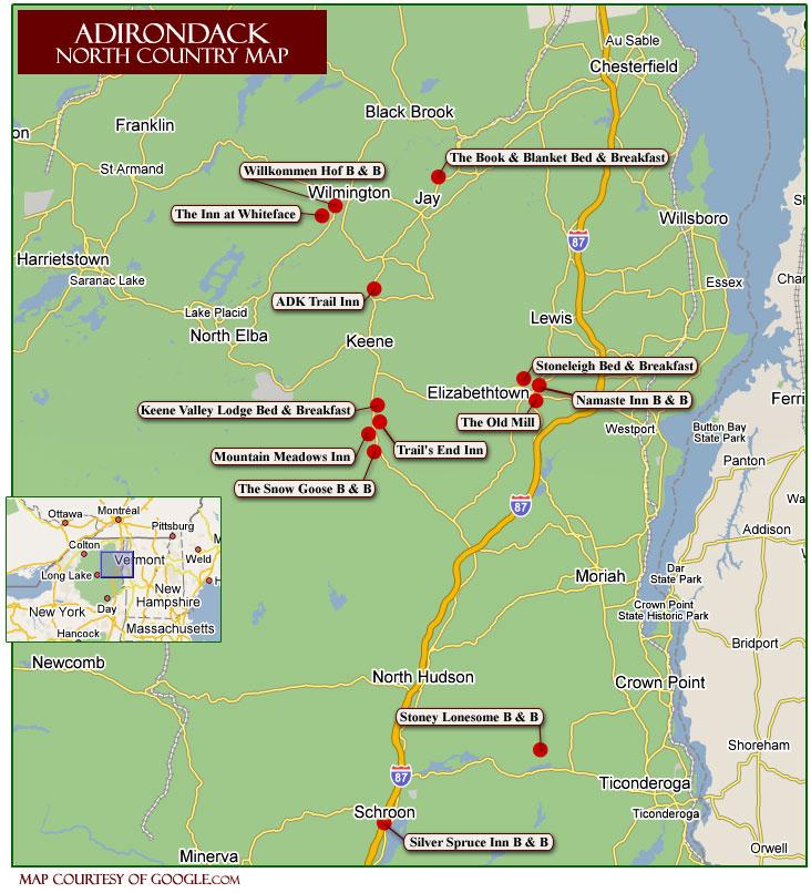 Adirondack Winter Activities - Adirondack mountains on us map